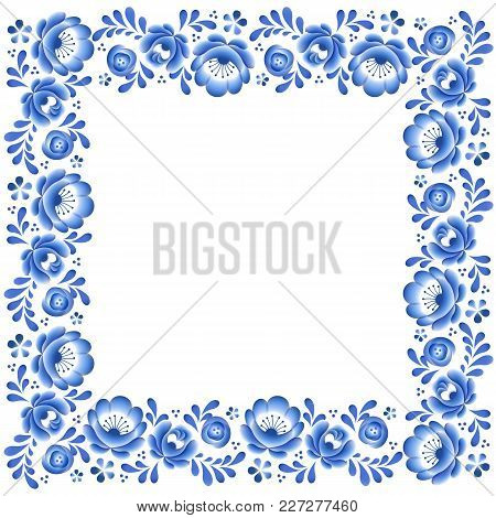 Blue Flowers Floral Russian Porcelain Round Frame With Beautiful Folk Ornament. Vector Illustration.