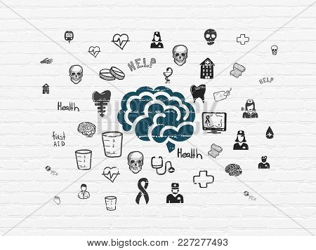 Healthcare Concept: Painted Blue Brain Icon On White Brick Wall Background With  Hand Drawn Medicine