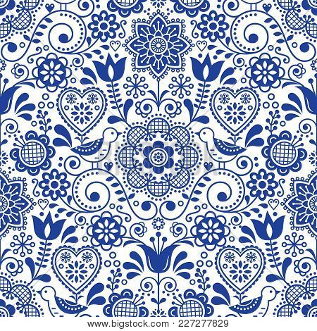 Seamless folk art vector pattern with birds and flowers, Scandinavian navy blue repetitive floral design poster