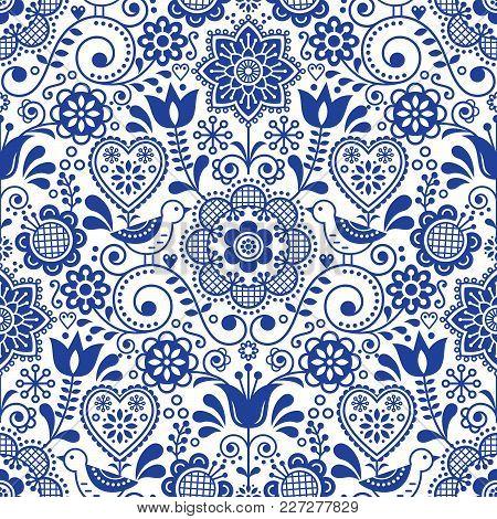 Seamless Folk Art Vector Pattern With Birds And Flowers, Scandinavian Navy Blue Repetitive Floral De