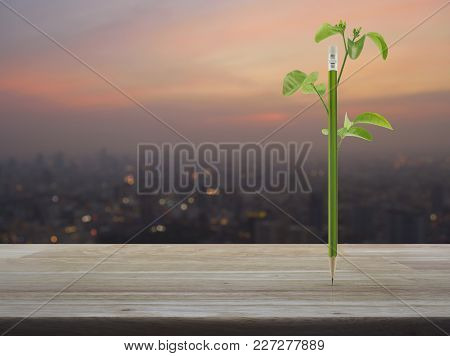 Eco Green Pencil With Leaf On Wooden Table Over Blur Of Cityscape On Warm Light Sundown, Ecology Con