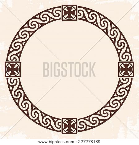 Celtic National Circle Ornament As Interlaced Ribbon With Crosses. Old Beige Background With The Agi