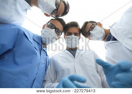 closeup. a group of doctors in the operating room