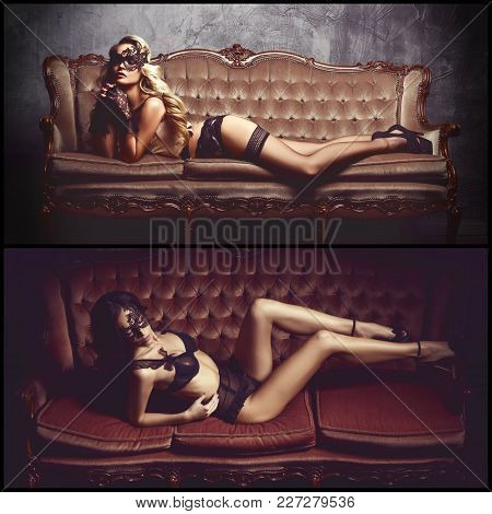 Collage Of Different Images Of A Gorgeous And Seductive Woman Lying On Sofa In Black Sexy Underwear.