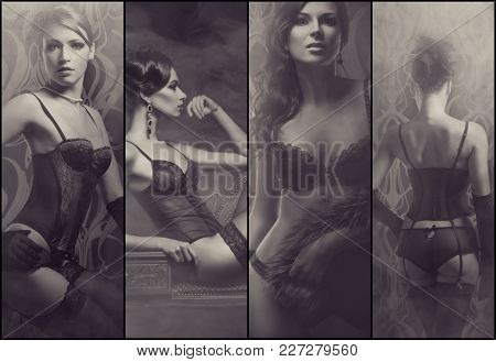 Collage Of Different Images Of A Gorgeous And Beautiful Women In Sexy Underwear. Fashion And Vogue C