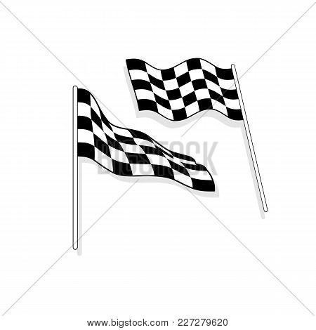 Finish Flag Icon. Checkered Finish Sign Illustration