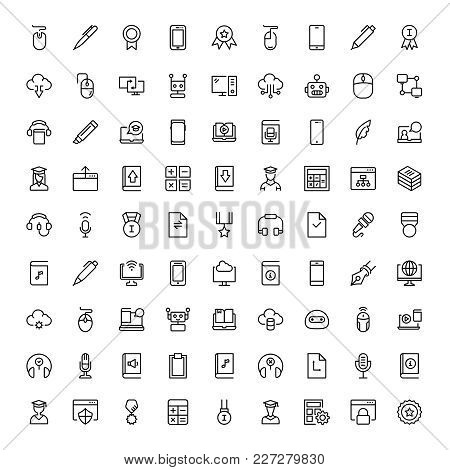 E-learning Icon Set. Collection Of High Quality Black Outline Logo For Web Site Design And Mobile Ap