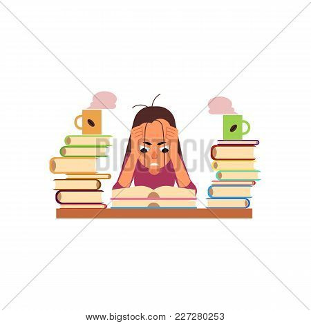 Vector Flat Exhausted Tired Angry Girl Student Or Worker Sitting At Table With Books Pile And Coffee