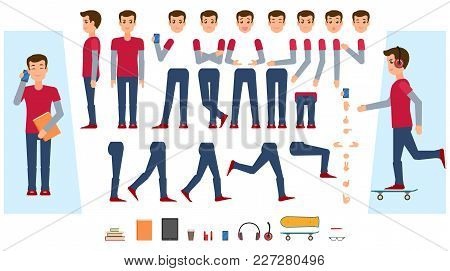 Vector Animated Young Man Character. Male Teenager Creation Set Front, Side View, Various Items Phon