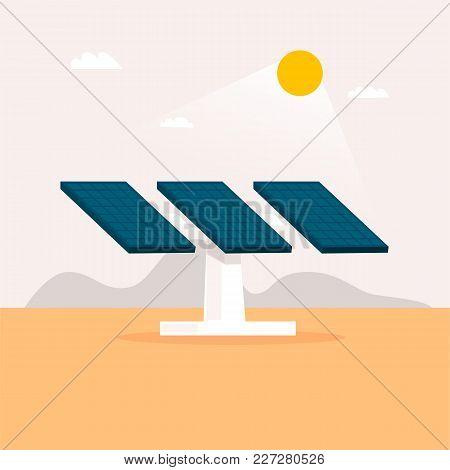 Alternative Energy Sources. Solar Panels. Flat Design Vector Illustration.