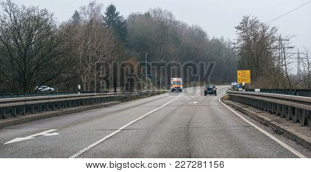 Achern Germany - Feb 18, 2018: Driver Pov Personal Perspective Toward The Driving In Front Deutsches