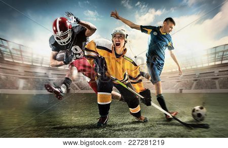 Irresistible In Attack. Rage.multi Sports Collage With Hockey, Soccer, American Football Players. Co