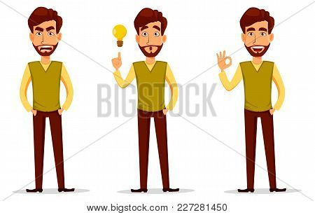 Business Man With Beard, Cartoon Character Set. Young Handsome Businessman In Smart Casual Clothes A
