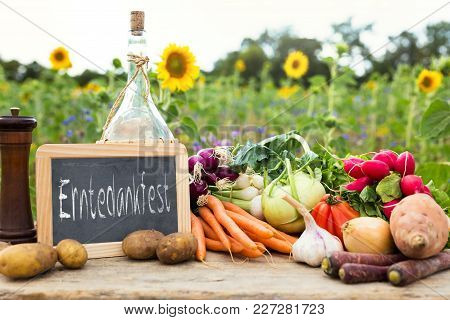 Organic Vegetables On A Table With German Text