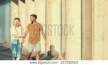 Young smiling couple on a date