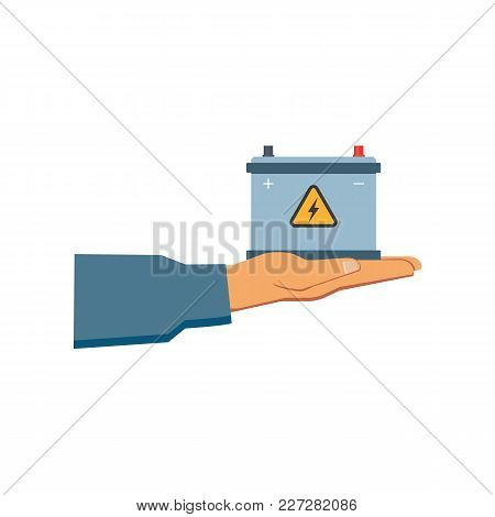 Vector Flat Car Service Design Objects Icon. Handyman, Mechanic Hand In Uniform Holding Auto Accumul