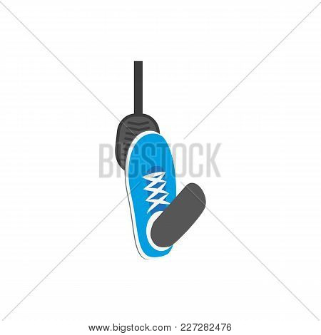 Vector Flat Foot In Blue Sneaker Pressing Gas, Brake Car, Auto Pedal Icon. Isolated Illustration On