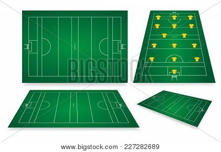 Gaelic Football Fields With Markings. Different Viewpoints. Positions Of Players On The Field