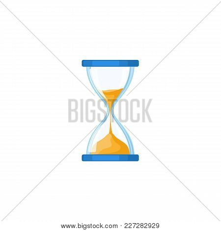 Traditional Hourglass, Hour-glass, Sandglass, Sand-glass Icon, Flat Style Vector Illustration Isolat