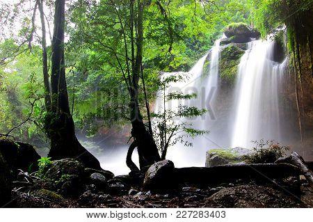Haew Su Wat Waterfall In Khao Yai National Park, Thailand, Asia