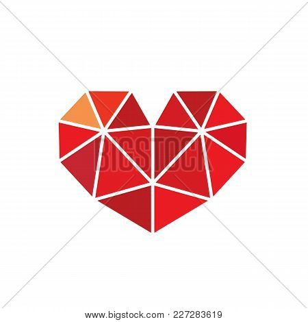 Low Poly Style Heart Love Symbol. Available In Editable Eps Vector Format. Isolated On White Backgro