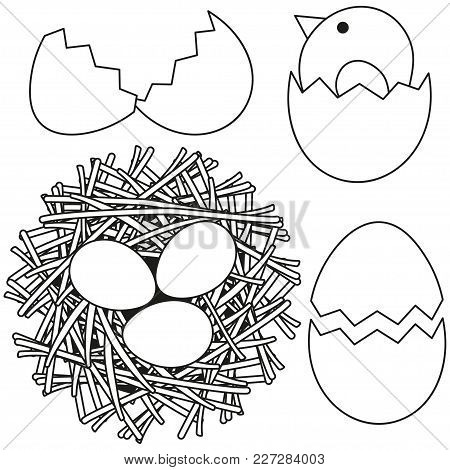 Line Art Black And White Easter Icon Set Chicken Nest Egg Shell. Coloring Book Page For Adults And K