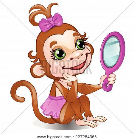 Funny Monkey Looks In The Mirror. Vector.