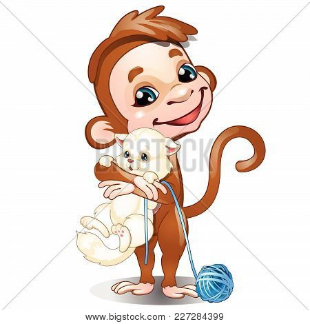 Funny Monkey And White Kitty Isolated On White Background. Vector Cartoon Close-up Illustration.