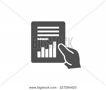 Hold Report Document Simple Icon. Analysis Chart Or Sales Growth Sign. Statistics Data Symbol. Quali