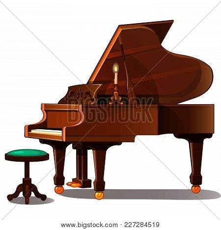 Brown Grand Piano And Candle. Vector Illustration.