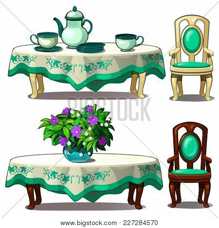 Table With Tea Set And A Chair. Vector.