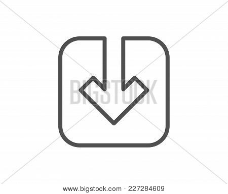 Load Document Line Icon. Download Arrowhead Symbol. Direction Or Pointer Sign. Quality Design Elemen