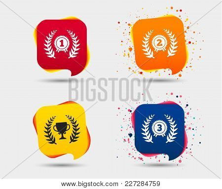 Laurel Wreath Award Icons. Prize Cup For Winner Signs. First, Second And Third Place Medals Symbols.