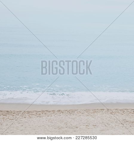 Calm Beach And Sea.  Tranquility Of Turquoise Water. Pastel Color