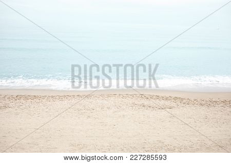Retro Pastel Beach And Sea.  Tranquility Of Turquoise Water. Summer  Vintage Scene