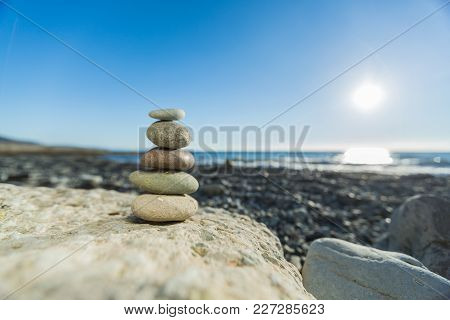 Sand stones zen yellow background simplicity scene poster