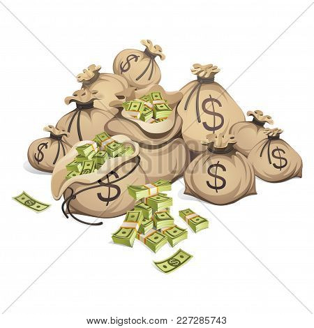 Bags Of Money. Packing In Bundles Of Bank Notes. Isolated On White Background.
