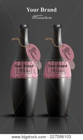 Black Stylish Water Bottles Vector Realistic. Product Packaging Label Design