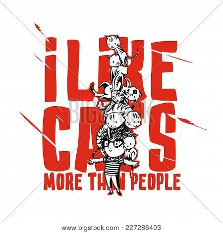 Cats Pyramid On White Background With Typography Vector Illustration Design.