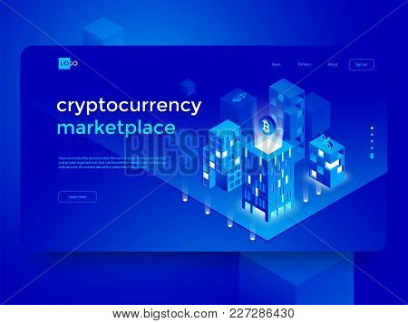 Cryptocurrency And Blockchain Isometric Composition With Smart City And Abstract Infographics. Isome