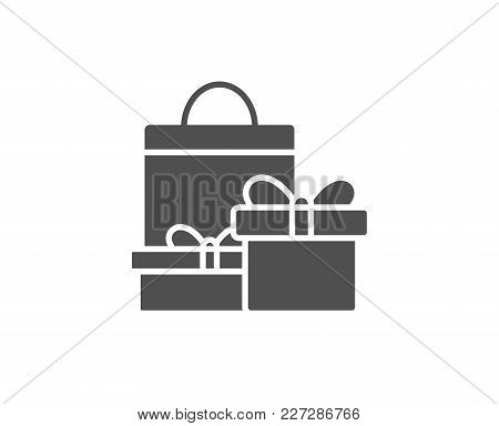 Gift Boxes With Bag Simple Icon. Present Or Sale Sign. Birthday Shopping Symbol. Package In Gift Wra