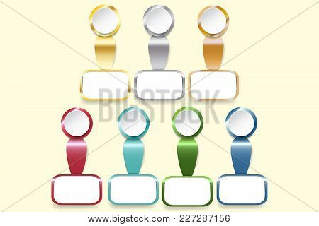 Infograph Of White Circles Ready For Your Text And Rectangle Labels With Golden, Silver, Bronzed And