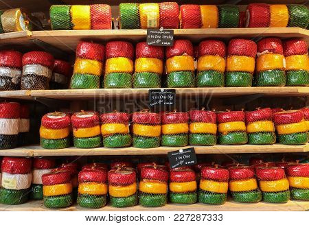 Amsterdam, Netherlands - April 20, 2017: Cheese Wheels In Amsterdam Store. Netherlands