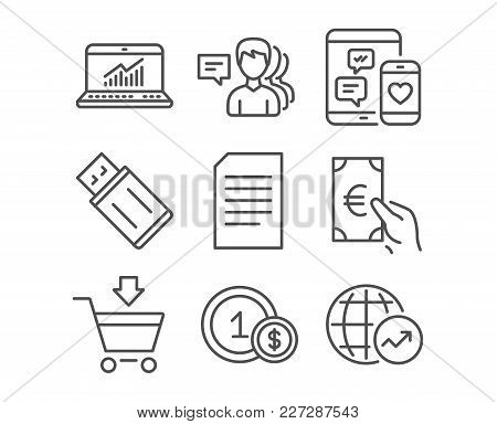 Set Of Document, Online Statistics And Finance Icons. People, Usd Coins And Online Market Signs. Usb