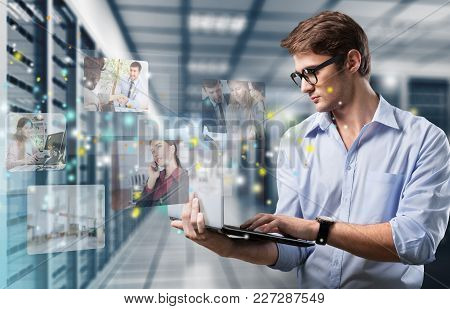 Holding Man Laptop Color View Years Person