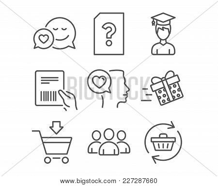 Set Of Romantic Talk, Online Market And Group Icons. Dating, Parcel Invoice And Student Signs. Unkno