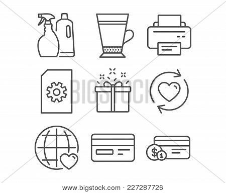 Set Of Special Offer, International Love And Update Relationships Icons. Printer, Credit Card And Sh