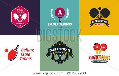Set Of Vintage Color Table Tennis Logos And Badges. Collection Of The Ping Pong Championship Labels
