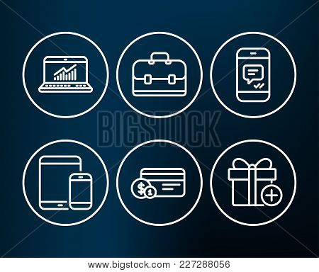 Set Of Online Statistics, Payment Method And Portfolio Icons. Mobile Devices, Message And Add Gift S