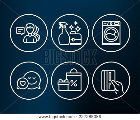 Set Of Washing Machine, Shopping And People Icons. Cleanser Spray, Dating And Payment Card Signs. La
